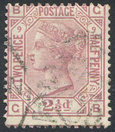 SG141 2 1/2d Rosy Mauve Plate 9 Fine Used