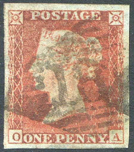 1841 1d Red (OA) 4 Margin Fine Used Irish Cancel