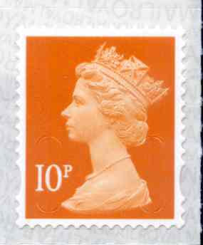 U2923 10p Dull Orange M18L Unmounted Mint