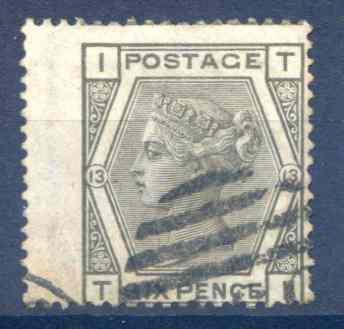 SG147 6d Grey Plate 13 LH Wing Margin Fine Used