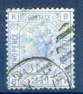 SG142 2 1/2d Blue Plate 19 Fine Used