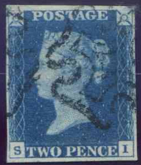 1840 2d Deep Full Blue (SI) Fine Used 4 Margin Black MX