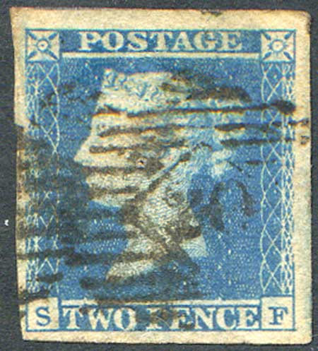 1841 2d Blue (SF) Plate 4 Fine Used 4 Large Margins