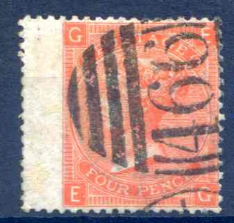 SG94 4d Vermillion Plate 9 Fine Used LH Wing Margin