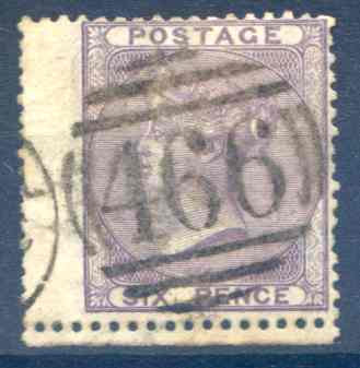 SG69 6d Deep Violet Fine Used LH Wing Margin