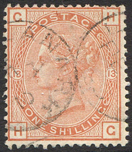 SG163 Plate 13 1/- Orange Brown Very Fine Used Cancelled with 2 Light Part CDS's