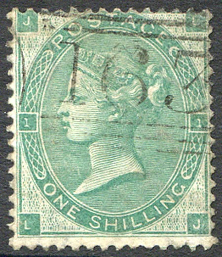 SG90 1/- Green Fine Used Light Cancel