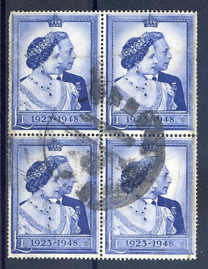 SG494 £1 Blue Silver Wedding Used Block 4