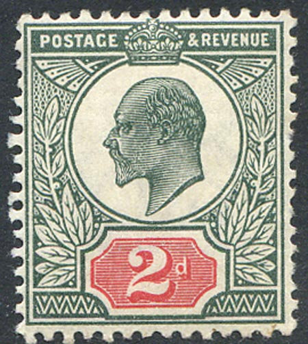 SG290 2d Deep Dull Green & Red Lightly Mounted Mint