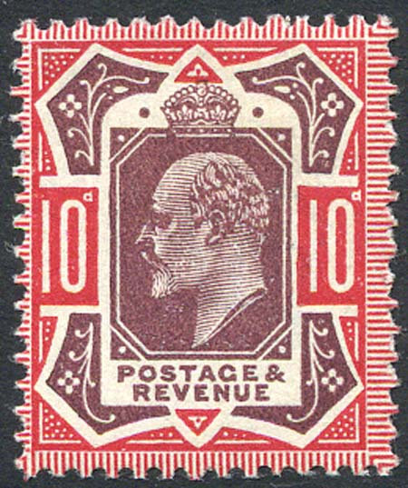 SG311 10d Dull Reddish Purple & Carmine Lightly Mounted Mint