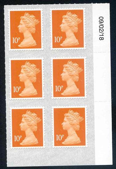 U2923 10p Dull Orange M18L Unmounted Mint Marginal Block6