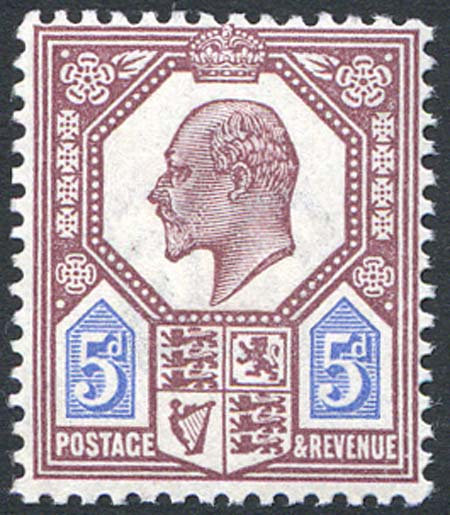 SG293 5d Dull Reddish Purple & Bright Blue Lightly Mounted Mint