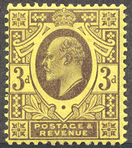 SG232 3d Dull Purple on Orange Yellow Spec M19/1 Mounted Mint
