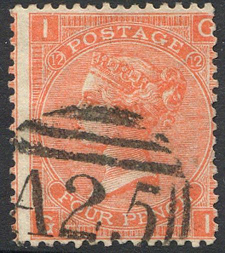 SG94 Plate 12 4d Vermillion Fine Used A25 (Malta) Cancel