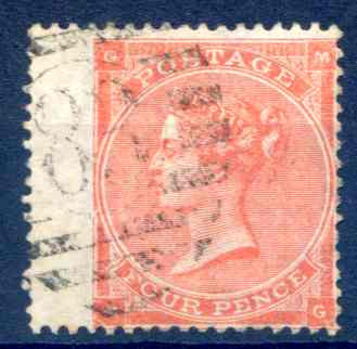 SG82 4d Pale Red Fine Used LH Wing Margin