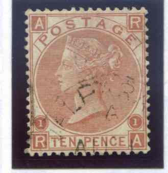 SG113 10d Pale Red Brown Fine Used. Part Valparaiso CDS