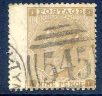 SG86 9d Bistre Fine Used LH Wing Margin Newcastle 545 Cancel