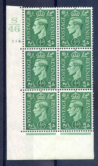KGV1 1/2d Green S46 Cyl 134 Dot Mounted Mint Block 6