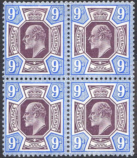 SG251Var 9d Slate Purple & Deep Ultramarine Mint Block 4 Spec M40/4