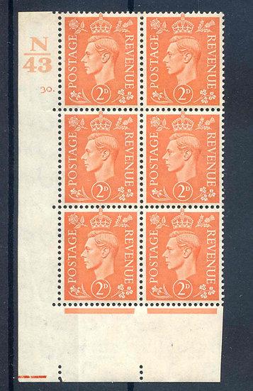 KGV1 2d Pale Orange N43 Cyl 30 Dot mounted Mint Block 6