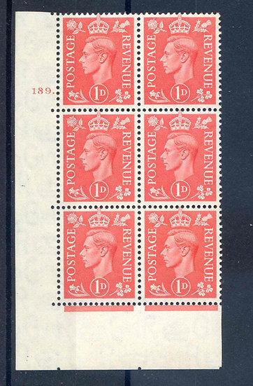 KGV1 1d Pale Scarlet  Cyl 189 Dot mounted Mint Block 6
