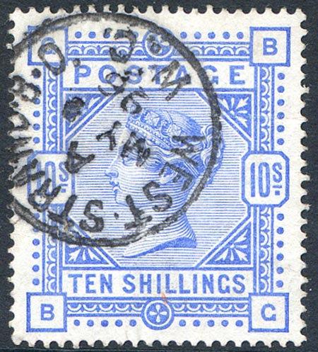 SG183 10/- Ultramarine Fine Used