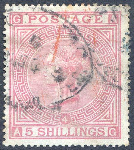 SG130 5/- Rose Plate 4 Fine Used On Blued Paper