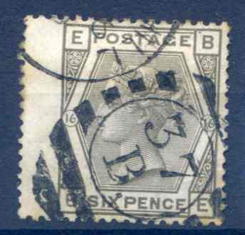 SG147 6d Grey Plate 16 LH Wing Margin Fine Used