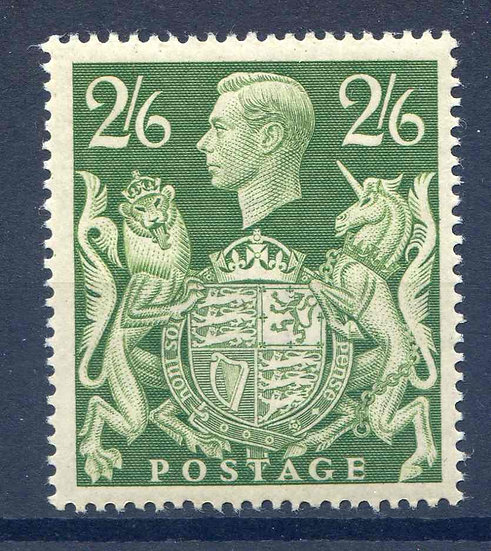 SG476b 2/6 Yellow Green Mounted Mint