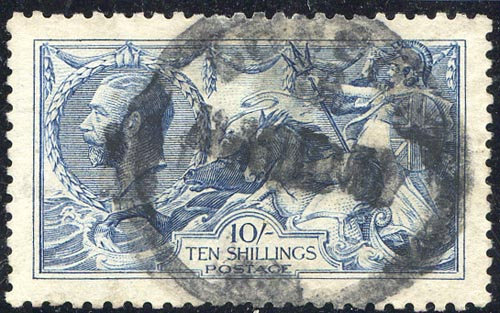 SG412 10/- Blue Good Used Indistinct Rubber Cancel
