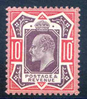 SG254 10d Dull Purple & Carmine Lightly Mounted Mint