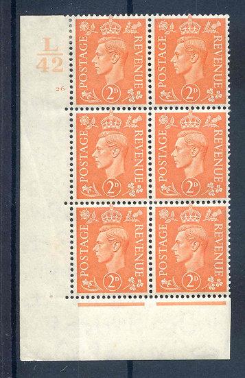 KGV1 2d Pale Orange L42 Cyl 26 No Dot Unmounted Mint Block 6