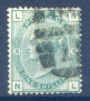 SG150 1/- Green Plate 8 Fine Used