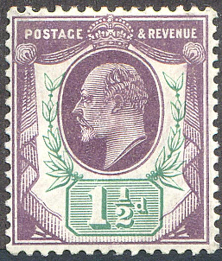SG223 1 1/2d Pale Dull Purple & Green Mounted Mint