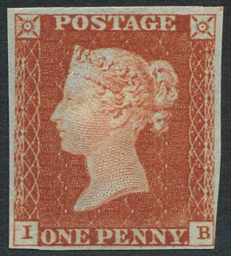 Penny Red Imperf (IB) 4 Margin Part Original Gum Plate 46