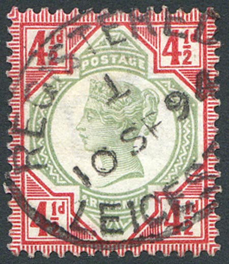 SG206 4 1/2d Green & Carmine Fine Used Part Registered Cancel