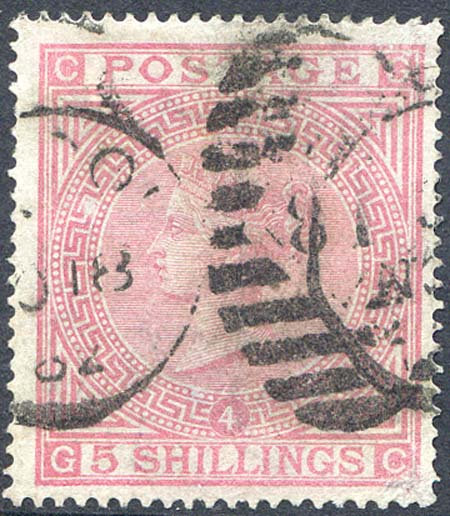 SG134 5/- Rose Plate 4 Fine Used Part CDS