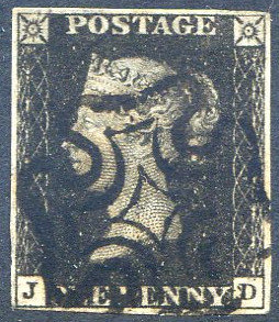 Penny Black (JD) Plate 9 Fine Used Crisp Black MX 4 Margin