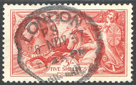 SG451 5/- Bright Rose Red Fine Used London Rubber Cancel