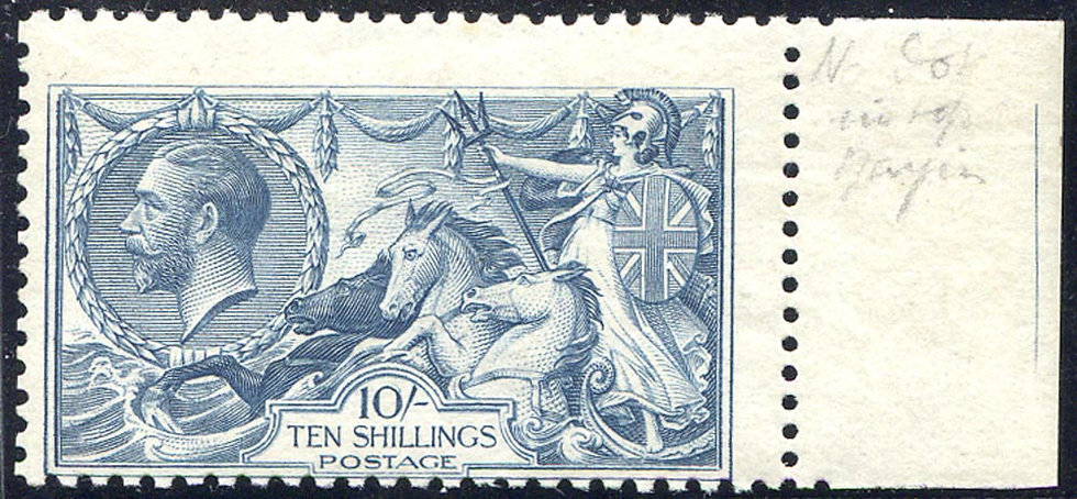 SG417 10/- Dull Grey Blue Unmounted Mint Marginal