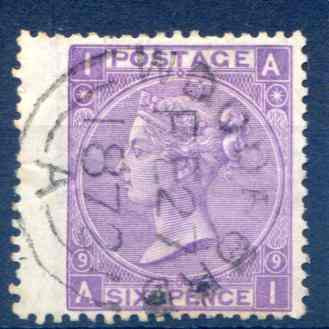 SG109 6d Mauve Plate 9 Used LH Wing Margin CDS