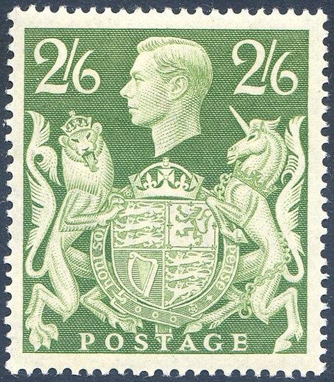 SG476b 2/6 Green Lightly Mounted Mint