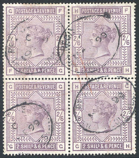 SG178 2/6 Lilac Fine Used Block 4 Indistinct Registered Cancel on each Stamp
