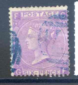 SG97 6d Lilac Plate 6 Fine Used Blue Cancel