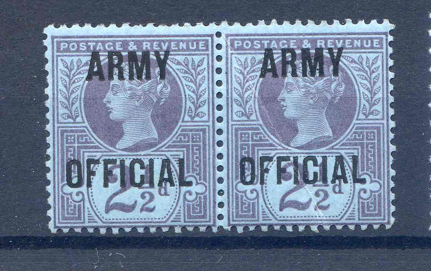 SG044 2 1/2d Jubilee Pair Army Official Overprint Unmounted Mint