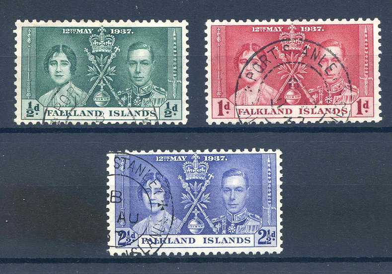 Falkland Islands 1937 Coronation set SG143/5 Fine Used