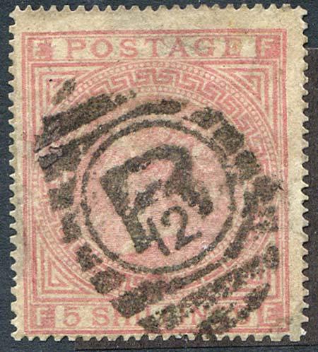 SG130 5/- Rose Plate 4 Fine Used