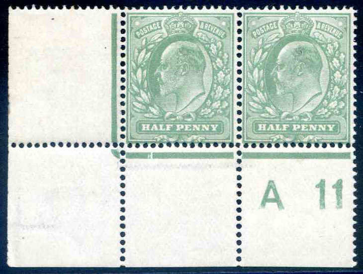 SG279 1/2d Dull Green Unmounted Mint A11 Control Pair