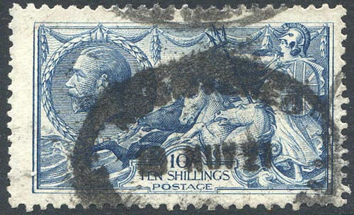 SG412 10/- Blue Good Used Heavy Registered Cancel