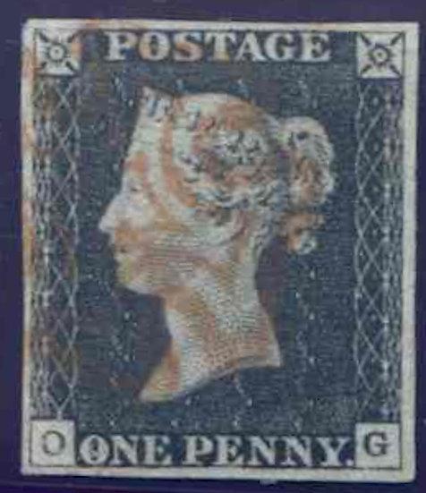 Penny Black (OG) Plate 3 Fine Used 4 Margin Feint Red MX
